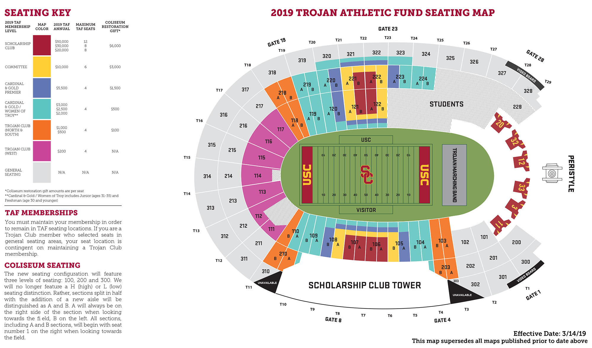 2019 Trojan Athletic Fund Seating Map for USC Trojans Football