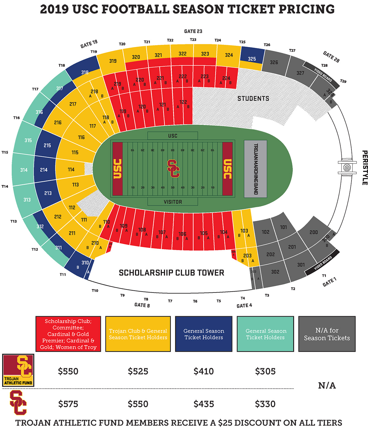 2019 USC Trojans Football Season Ticket Map